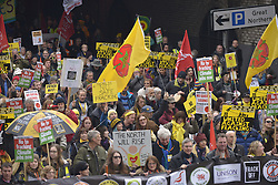 November 12, 2016 - Manchester, England, United Kingdom - People demonstrate against hydraulic fracturing, also known as 'fracking', on November 12, 2016 in Manchester, England. Hydraulic Fracturing is expected to take place in various locations around England, whilst the Northern Irish, Scottish and Welsh Governments has introduced moratoriums on the gas extraction method. Although fracking is a controversial form of energy extraction, due to environmental concerns, fracking is supposed to provide cheaper and more secure energy for the United Kingdom's domestic energy market. (Credit Image: © Jonathan Nicholson/NurPhoto via ZUMA Press)