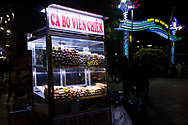 A street food vendor at night on Nguyen Hue Boulevard in Ho Chi MInh City, Vietnam, Southeast Asia