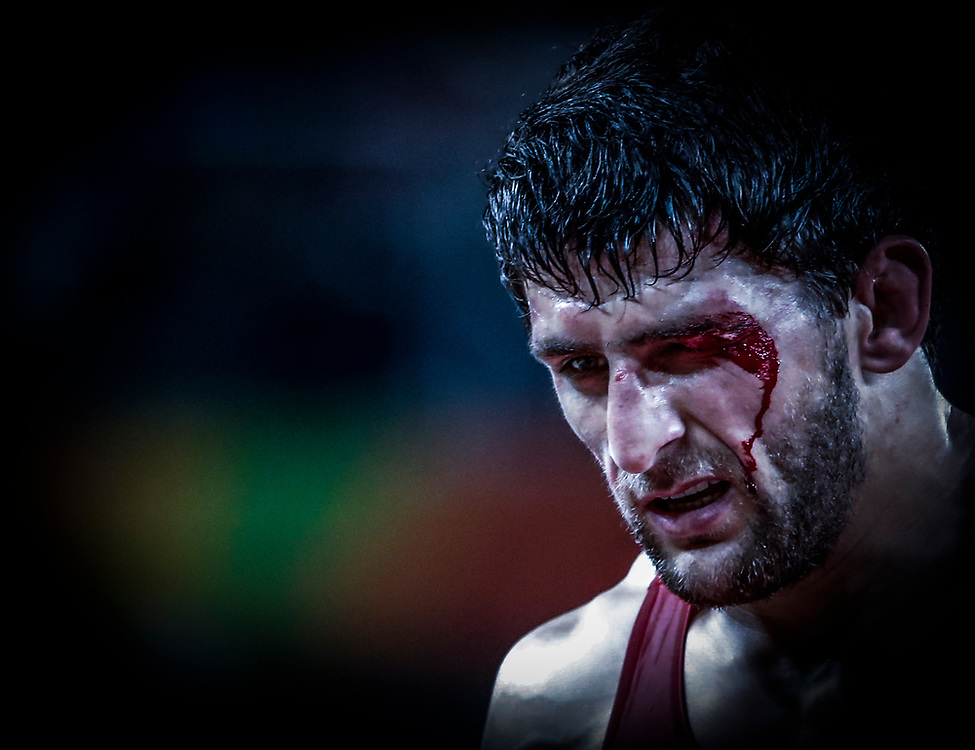 in the men's Freestyle 57kg quarterfinal match of the Rio 2016 Olympic Games Wrestling events at the Carioca Arena 2 in the Olympic Park in Rio de Janeiro, Brazil, 19 August 2016.