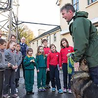 Garda Patrick Harrington from Garda dog unit visiting the Ennis Garda Síochána Station during the Garda Síochána Crime Prevention Art Competition prize giving event