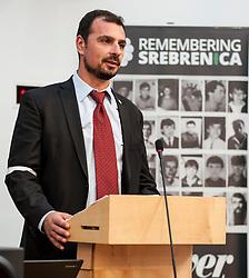 Survivor of Srebrenica Resad Trbonja spoke at an event remembering the massacre at Srebrenica during the Yugoslav war. <br /> <br /> © Dave Johnston/ EEm