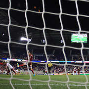 Dax McCarty, New York Red Bulls, (left) dives between defenders to score his sides dramatic injury time winner beating Real Salt Lake goalkeeper Jeff Attinella in the 4-3 Red Bulls win during the New York Red Bulls V Real Salt Lake, Major League Soccer regular season match at Red Bull Arena, Harrison, New Jersey. USA. 27th July 2013. Photo Tim Clayton