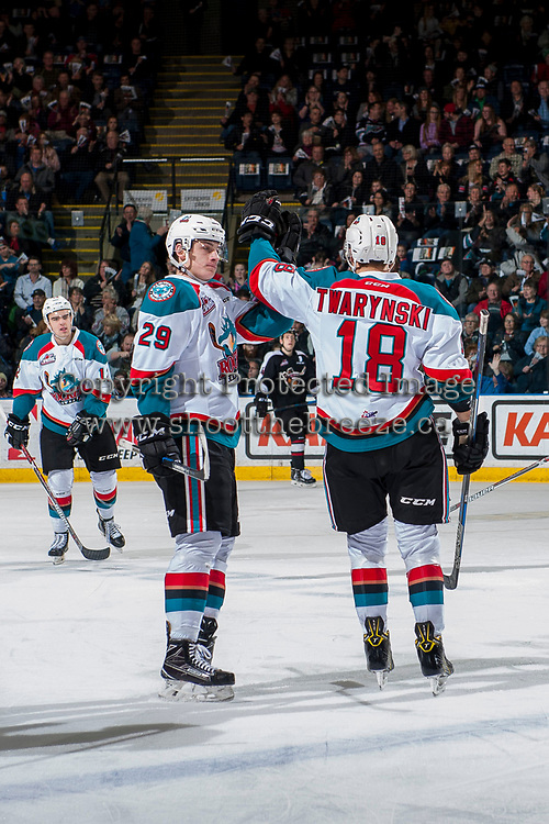 KELOWNA, CANADA - MARCH 10: Nolan Foote #29 and Carsen Twarynski #18 of the Kelowna Rockets celebrates a first period goal against the Vancouver Giants on March 10, 2017 at Prospera Place in Kelowna, British Columbia, Canada.  (Photo by Marissa Baecker/Shoot the Breeze)  *** Local Caption ***