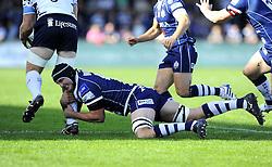 Bristol Rugby captain, Mark Sorenson tackles Bedford Blues' Darren Fox - Photo mandatory by-line: Joe Meredith/JMP - Tel: Mobile: 07966 386802 06/10/2013 - SPORT - FOOTBALL - RUGBY UNION - Memorial Stadium - Bristol - Bristol Rugby V Bedford Blues - The Championship