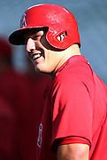 ANAHEIM, CA - APRIL 16:  Mike Trout #27 of the Los Angeles Angels of Anaheim laughs during batting practice before the game against the Oakland Athletics at Angel Stadium on Wednesday, April 16, 2014 in Anaheim, California. The Angels won the game 5-4 in 12 innings. (Photo by Paul Spinelli/MLB Photos via Getty Images) *** Local Caption *** Mike Trout