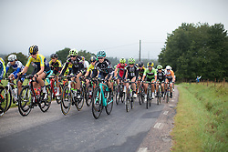 The peloton rides the first lap around Vårgårda during the 141 km road race of the UCI Women's World Tour's 2016 Crescent Vårgårda women's road cycling race on August 21, 2016 in Vårgårda, Sweden. (Photo by Balint Hamvas/Velofocus)