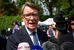 © Licensed to London News Pictures. 24/06/2016. London, UK. Former cabinet minister PETER MANDELSON speaking to media in Westminster, London on the day that the UK voted to leave the EU in a referendum. Photo credit: Ben Cawthra/LNP