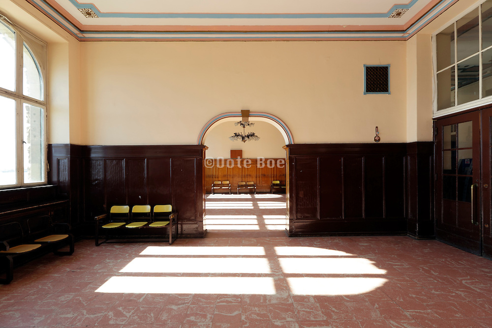 empty waiting room in the Haydarpasa train station Istanbul Turkey