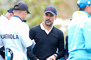 Pep Guardiola on the first hole during the Celebrity Pro-Am day at Wentworth Club, Virginia Water, United Kingdom on 23 May 2018. Picture by Phil Duncan.