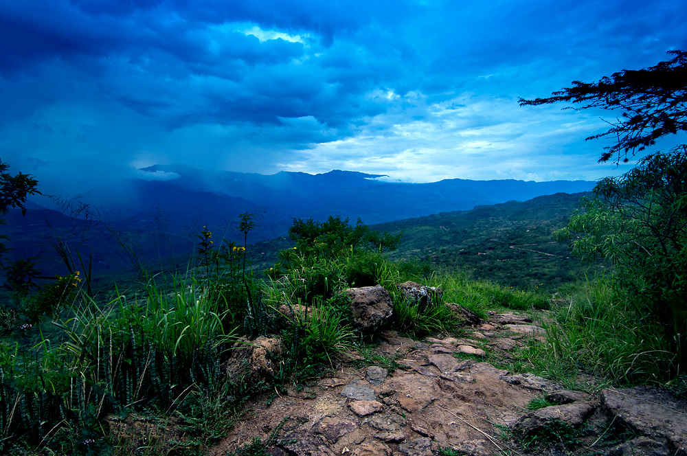 Colombia, Barichara, Camino Real, National Monument, Road dates back to the Conquistador Era, Descends into the town of Guane,  Andes Mountains, Canyon of Rio Suarez.