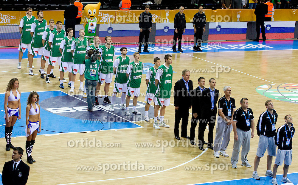 Team of Slovenia during basketball game between National basketball teams of Slovenia and Serbia in 7th place game of FIBA Europe Eurobasket Lithuania 2011, on September 17, 2011, in Arena Zalgirio, Kaunas, Lithuania. Slovenia defeated Serbia 72 - 68 and placed 7th. (Photo by Vid Ponikvar / Sportida)