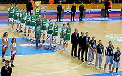 Team of Slovenia during basketball game between National basketball teams of Slovenia and Serbia in 7th place game of FIBA Europe Eurobasket Lithuania 2011, on September 17, 2011, in Arena Zalgirio, Kaunas, Lithuania. Slovenia defeated Serbia 72 - 68 and placed 7th. (Photo by Vid Ponikvar / Sportida)