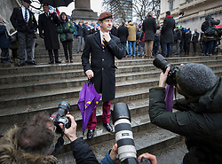 © Licensed to London News Pictures. 03/02/2018. London, UK. UKIP Leader Henry Bolton is surrounded by photographers as he takes part in the Veterans for Justice March in central London .Photo credit: Peter Macdiarmid/LNP
