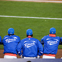 23 March 2009: Players of team Korea are seen in the dugout during the 2009 World Baseball Classic final game at Dodger Stadium in Los Angeles, California, USA. Japan defeated Korea 5-3