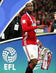 Paul Pogba of Manchester United with the EFL Trophy - Mandatory by-line: Matt McNulty/JMP - 26/02/2017 - FOOTBALL - Wembley Stadium - London, England - Manchester United v Southampton - EFL Cup Final