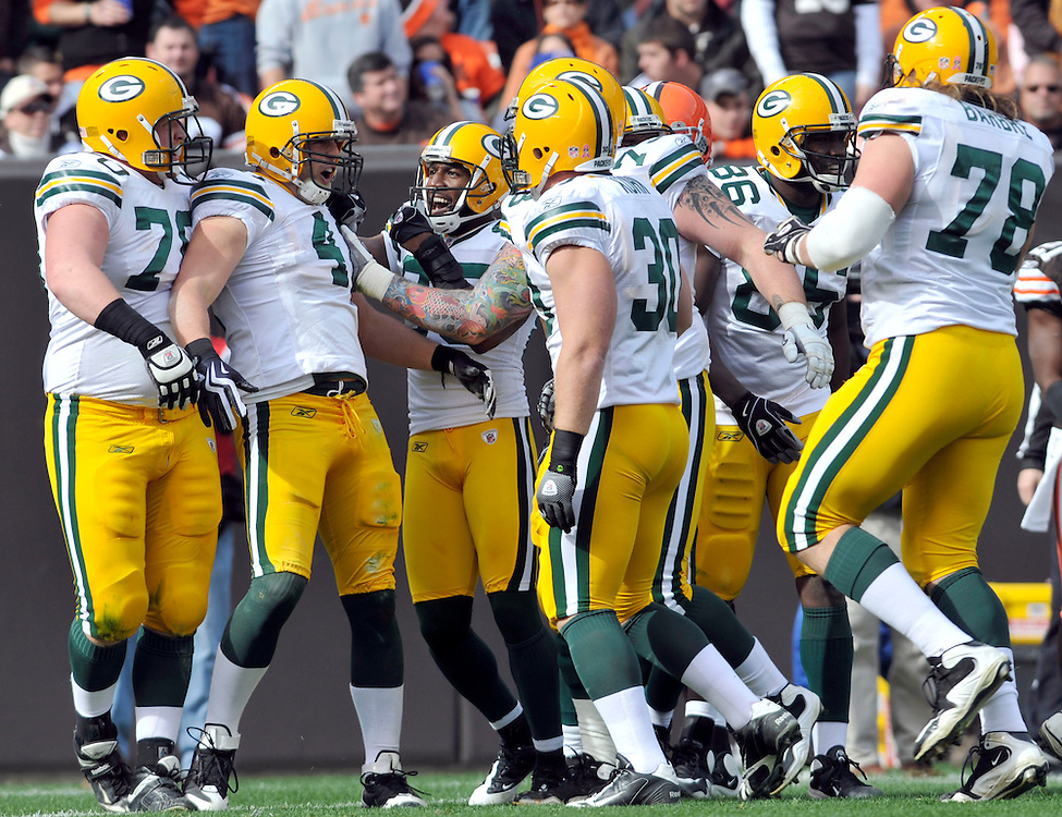 Oct 25, 2009; Cleveland, OH, USA; Green Bay Packers linebacker Spencer Havner (41) celebrates with his teammates after scoring a touchdown during the second quarter against Cleveland Browns at Cleveland Browns Stadium. Mandatory Credit: Jason Miller-US PRESSWIRE