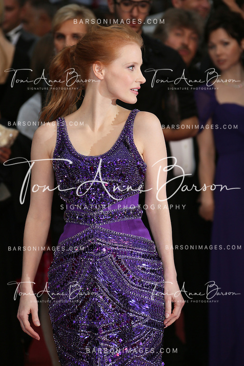CANNES, FRANCE - MAY 22:  Jessica Chastain attends the Premiere of 'All Is Lost' during The 66th Annual Cannes Film Festival at the Palais des Festivals on May 22, 2013 in Cannes, France.  (Photo by Tony Barson/FilmMagic)