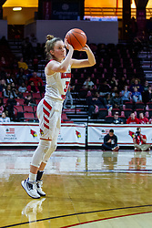 NORMAL, IL - February 07: Mary Crompton takes a shot from well beyond the 3 point line during a college women's basketball game between the ISU Redbirds and the Braves of Bradley University February 07 2020 at Redbird Arena in Normal, IL. (Photo by Alan Look)