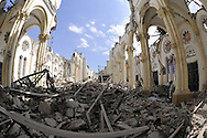 Interior of the collapsed Roman Catholic Cathedral in Port-au-Prince, Haiti on Saturday, January 30, 2010. Archbishop Joseph Serge Miot was killed when the 18th. century cathedral was destroyed in the massive 7.0 earthquake on January 12th., killing upwards of 300,000 people.