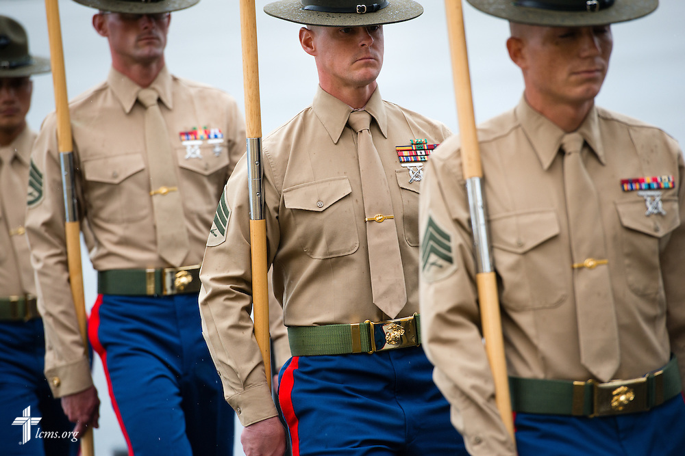 Drill instructors process from the reviewing area near the conclusion of the recruit graduation from the Marine Corps Recruit Depot on Friday, Jan. 30, 2015, in San Diego, Calif. LCMS Communications/Erik M. Lunsford
