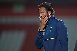 STEVENAGE, ENGLAND - Monday, September 19, 2016: Tottenham Hotspur's Under-23 coach Ugo Ehiogu during the FA Premier League 2 Under-23 match against Liverpool at Broadhall. (Pic by David Rawcliffe/Propaganda)