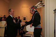 Sandy Nairne and Keith Jamieson a delegate of the Six Nations hereditary chiefs, Reception to celebrate loan of Canada's Four Indian King's to the National Portrait Gallery. London. 6 March 2007.  -DO NOT ARCHIVE-© Copyright Photograph by Dafydd Jones. 248 Clapham Rd. London SW9 0PZ. Tel 0207 820 0771. www.dafjones.com.