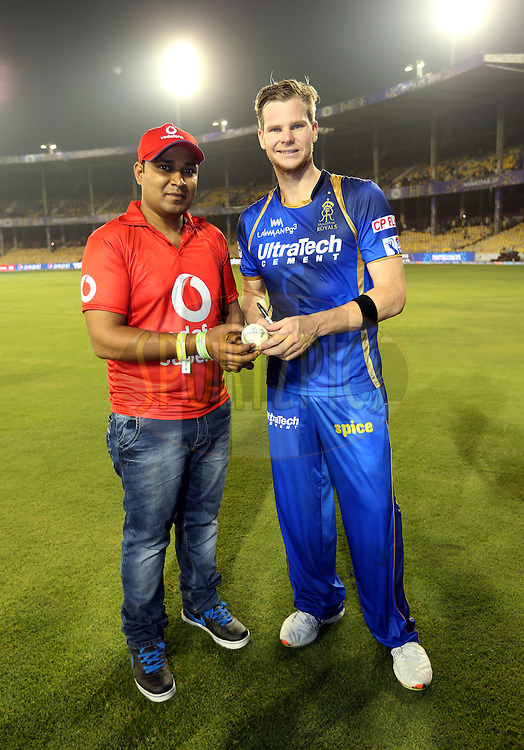 Rajasthan Royals player Steven Smith signs the vodafone ball during the presentation of the match 9 of the Pepsi IPL 2015 (Indian Premier League) between The Rajasthan Royals and The Mumbai Indians held at the Sardar Patel Stadium in Ahmedabad , India on the 14th April 2015.<br /> <br /> Photo by:  Sandeep Shetty / SPORTZPICS / IPL