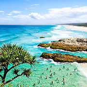 Looking south along the beach at Point Lookout on Stradbroke Island. North Stradbroke Island, just off Queensland's capital city of Brisbane, is the world's second largest sand island and, with its miles of sandy beaches, a popular summer holiday destination.