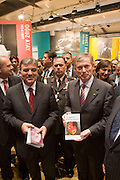 Buchmesse Frankfurt, biggest book fair in the World. Turkey is guest country 2008. Turkish President Abdullah Gül (l.) and German President Horst Köhler (r.) visiting the Turkish exhibition.