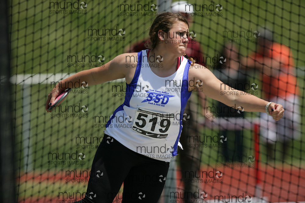 (Charlottetown, Prince Edward Island -- 20090719) Alanna Kovacs of South Simcoe Dufferin T.F competes in the discus final at the 2009 Canadian Junior Track & Field Championships at UPEI Alumni Canada Games Place on the campus of the University of Prince Edward Island, July 17-19, 2009.  Sean Burges / Mundo Sport Images ..Mundo Sport Images has been contracted by Athletics Canada to provide images to the media.