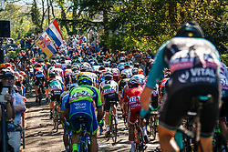Peloton with KING Benjamin of Dimension Data during the 1st lap on Mur de Huy at the 2018 La Flèche Wallonne race, Huy, Belgium, 18 April 2018, Photo by Thomas van Bracht / PelotonPhotos.com | All photos usage must carry mandatory copyright credit (Peloton Photos | Thomas van Bracht)