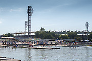 Plovdiv BULGARIA. 2017 FISA. Rowing World U23 Championships. <br /> Looking over the launching pontoons to the stadium.<br /> Wednesday. AM, general Views, Course, Boat Area<br /> 09:13:04  Wednesday  19.07.17   <br /> <br /> [Mandatory Credit. Peter SPURRIER/Intersport Images].