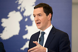© Licensed to London News Pictures.18/04/2016. Bristol, UK.  National Composites Centre, Emersons Green. Picture of Chancellor GEORGE OSBORNE; Treasury Report event re the EU referendum and the cost to UK families of the UK leaving the EU, with Chancellor George Osborne, Secretary of State for Energy and Climate Change Amber Rudd, Secretary of State for Environment, Food and Rural Affairs Liz Truss, and Secretary of State for Work and Pensions Stephen Crabb. Photo credit : Simon Chapman/LNP
