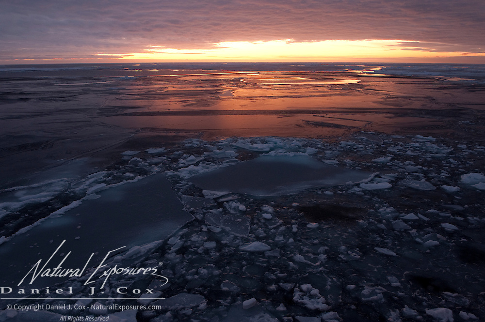 Colors of a morning sunrise with the newly formed ice on the Arctic Ocean.