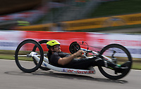 James Pearce in action during the Prudential RideLondon Handcycle Grand Prix. <br /> <br /> Prudential RideLondon 28/07/2017<br /> <br /> Photo: Tom Lovelock/Silverhub for Prudential RideLondon<br /> <br /> Prudential RideLondon is the world&rsquo;s greatest festival of cycling, involving 100,000+ cyclists &ndash; from Olympic champions to a free family fun ride - riding in events over closed roads in London and Surrey over the weekend of 28th to 30th July 2017. <br /> <br /> See www.PrudentialRideLondon.co.uk for more.<br /> <br /> For further information: media@londonmarathonevents.co.uk
