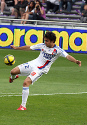 Clement Grenier shoots. Toulouse v Lyon (2-0), Ligue 1, Stade Municipal, Toulouse, France, 1st May 2011.