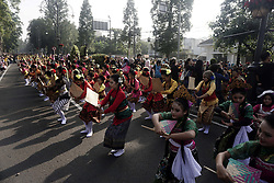 April 28, 2019 - Bandung, West Java, Indonesia - BANDUNG, INDONESIA - APRIL 28 : Indonesia students dance at road during World Dance Day in Bandung city, West Java Province, Indonesia. (Credit Image: © Sijori Images via ZUMA Wire)