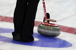 The XXII Winter Olympic Games 2014 in Sotchi, Olympics, Olympische Winterspiele Sotschi 2014, Curling competition, stone, stones, Stein, Steine,   rock, rocks, Granitstein, Granitsteine, Granit, granite,
