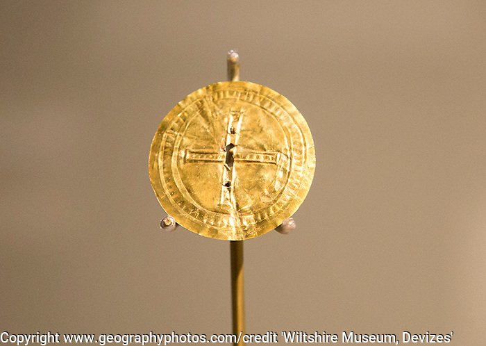 Gold sun disc from Jugís grave, Monkton Farleigh. With permission of Wiltshire Museum, Devizes, England, UK.