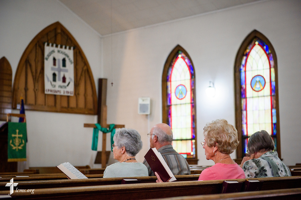 Church members sing during worship at Zion Evangelical Lutheran Church, Lu Verne, Iowa, on Sunday, July 9, 2017. LCMS Communications/Erik M. Lunsford
