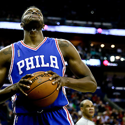 Feb 19, 2016; New Orleans, LA, USA; Philadelphia 76ers forward Jerami Grant (39) reacts after a basket by the New Orleans Pelicans during the second quarter of a game at the Smoothie King Center. Mandatory Credit: Derick E. Hingle-USA TODAY Sports