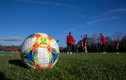 CARDIFF, WALES - Monday, November 18, 2019: The official Adidas match ball during a training session at the Vale Resort ahead of the final UEFA Euro 2020 Qualifying Group E match against Hungary. (Pic by David Rawcliffe/Propaganda)