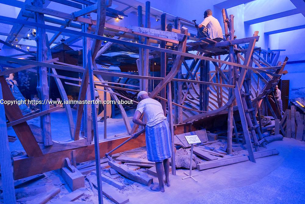 Dhow construction exhibit at Dubai Museum in United Arab Emirates