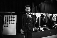 Backstage photography during Oliver Spencer menswear catwalk  at Londonb Fashion Week Spring/Summer 2017. The Oliver Spencer label was founded in 2002 the brand has grown and sells to over 151 stores worldwide and has 4 stand-alone stores.   <br />  <br /> Spencer has developed a sophisticated and intelligent design approach and continues to design a complete, contemporary wardrobe for the modern, fashion-conscious man. He draws inspiration from the world of art and architecture and London&rsquo;s ever-evolving subcultures.   Photo Kash/ProPugliaPhoto