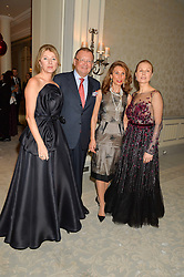Left to right, LYUBA GALKINA, The Russian Ambassdor to UK ALEXANDER YAKOVENKO, his wife NANA YAKOVENKO and DINA KORZUN at the Gift of Life Old Russian New Year's Eve charity gala held at The Savoy Hotel, London on 13th January 2016.