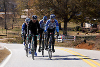 From right, Discovery Channel Pro Cycling Team racer George Hincapie, teammate Ryder Hesjedal, brother Rich Hincapie and Team TIAA-CREF racer Craig Lewis on a training ride. Long successful in the European classics, in addition to being Lance Armstrong's right hand man on the team, Hincapie took his first Tour de France stage win in 2005.<br />