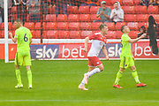 Barnsley Cameron McGeehan (8) scores a goal and celebrates to make the score 1-1 during the Pre-Season Friendly match between Barnsley and Sheffield United at Oakwell, Barnsley, England on 27 July 2019.