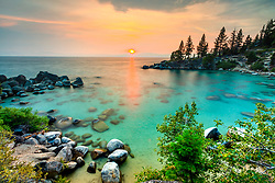 """""""Secret Cove Sunset 6"""" - Sunset photograph taken at Secret Cove, Lake Tahoe."""