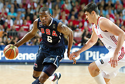 Kevin Durant  of USA vs Ersan Ilyasova of Turkey during the finals basketball match between National teams of Turkey and USA at 2010 FIBA World Championships on September 12, 2010 at the Sinan Erdem Dome in Istanbul, Turkey.   (Photo By Vid Ponikvar / Sportida.com)
