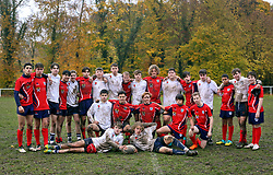 10 November 2018. Rugby Club Compiègne. Compèigne, Somme, France.<br /> Tournio Rugby de l'Armistice.<br /> A rugby tournament in the heart of the Somme region in honour of those who perished in the Great War100 years ago.<br /> <br /> Wales v Germany, U18 rugby. <br /> Llandovery College U18 v St George's Schule, Munich. <br /> Llandovery won 28-14.<br /> The two teams came together in unison after the game. <br /> <br /> Photo©; Charlie Varley/varleypix.com